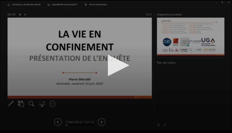 L'enquête «La vie en confinement» (VICO) : présentation et premiers résultats (Vendredis Quanti, 19 juin 2020)